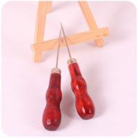 一元红色木柄锥子 DIY手工皮革工具 木把双葫芦钩针 缝纫针
