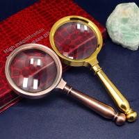 批发高倍古铜全金属放大镜80mm带高档礼盒礼品手持阅读放大镜