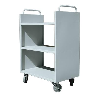 厂家直销 三层书车 图书馆档案室钢制书籍档案运输书车 静音轮胎
